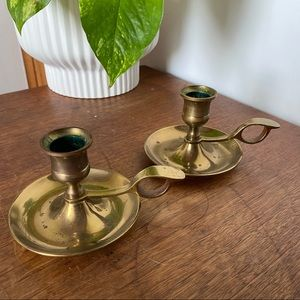 Set of 2 | Brass Chamber Candle Holders Vintage